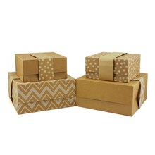 Folding Gift Boxes by Celebrate It, Kraft Chevron, 4 Pack, Product