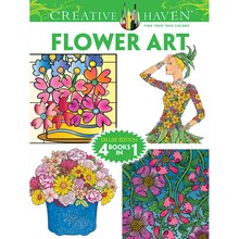 Creative Haven Flower Art Coloring Book: Deluxe Edition 4 Books In 1