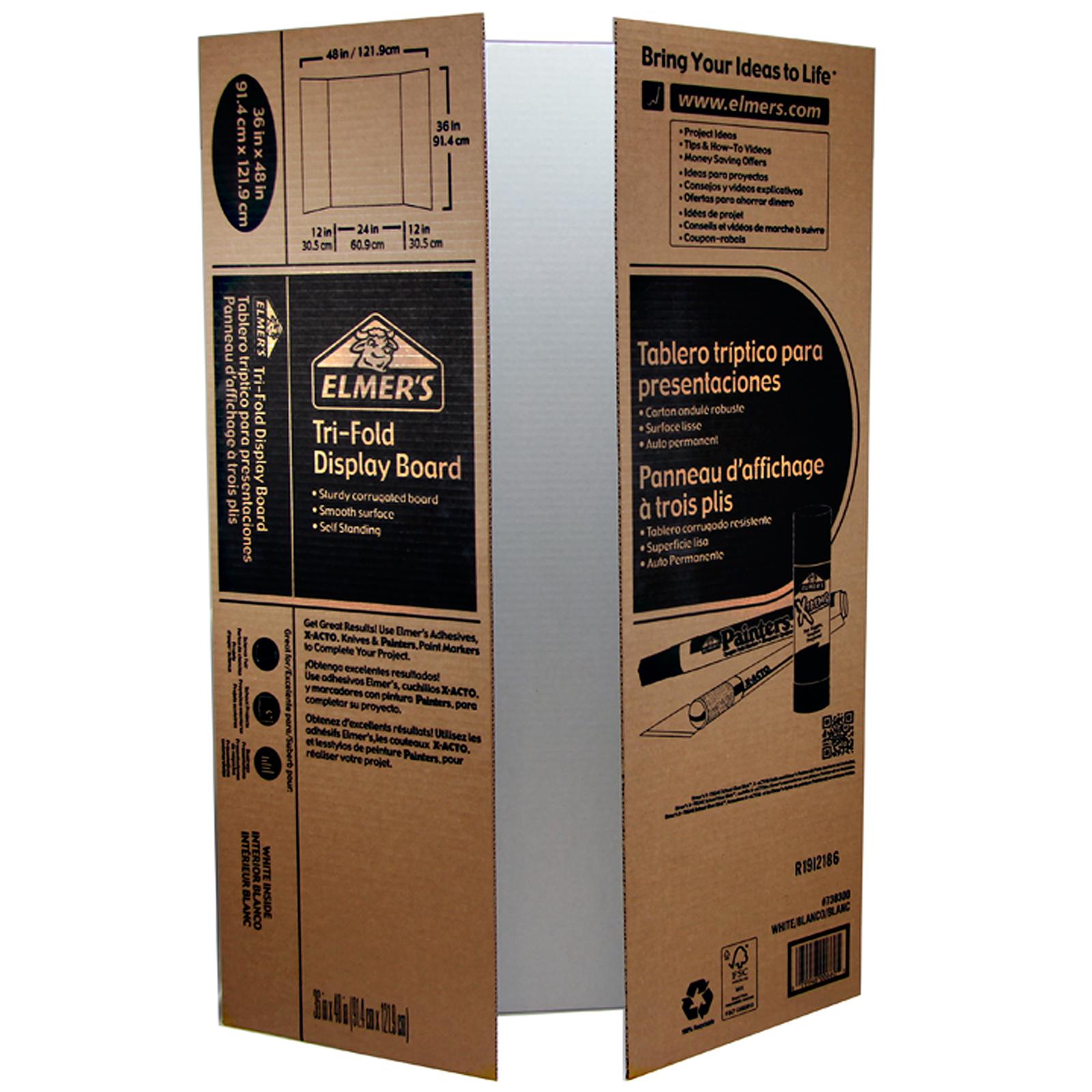 Elmeru0026#39;su00ae Corrugated Tri-Fold Display Board White