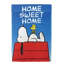 Peanuts Snoopy with His Friend Woodstock Garden Flag, Home Sweet Home