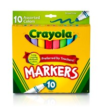 Crayola Broad Line Markers, Assorted Colors, 10 Count