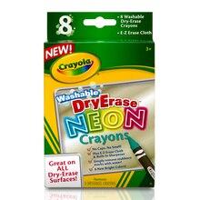 Crayola Washable Dry Erase Neon Crayons, 8 Count