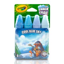 Crayola Sidewalk Chalk, Blues, 4 Count Cool Blue Sky