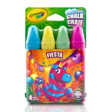 Crayola Assorted Sidewalk Chalk, Party Colors, 4 Count Fiesta