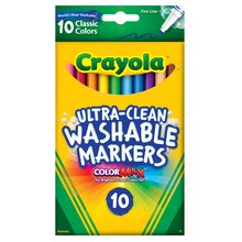 Crayola Ultra-Clean Fine Line Classic Color Markers, 10 Count