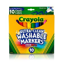 Crayola Ultra-Clean Broad Line Classic Color Markers, 10 Count