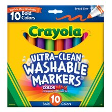 Crayola Ultra-Clean Broad Line Bold Markers, 10 Count