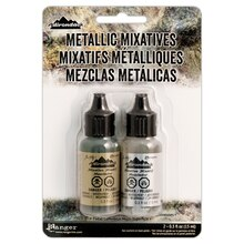 Tim Holtz Adirondack Alcohol Ink Metallic Mixatives, Gold & Silver