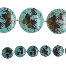 Bead Gallery Reconstituted Turquoise Butterfly Print Beads