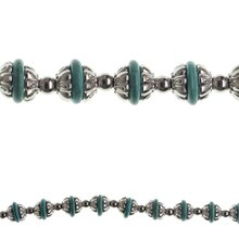 Bead Gallery Reconstituted Rondelle Beads, Turquoise & Silver