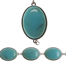 Bead Gallery Reconstituted Stone Oval Beads, Turquoise & Silver, Close Up