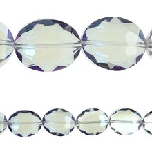 Bead Gallery Glass Faceted Oval Beads, Blue