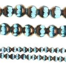 Bead Gallery Glass Beads, Aqua & Copper, Close Up