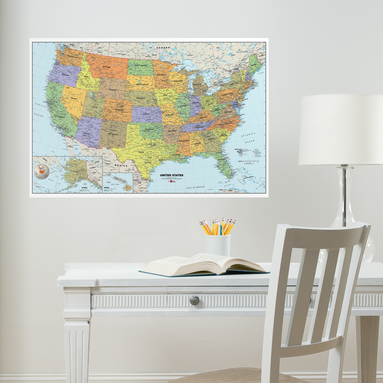 US Highway Wall Map By National Geographic Paper Laminated Or