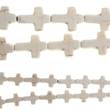 Bead Gallery Stone Cross Beads, White Turquoise