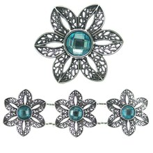 Bead Gallery Flower Sliders, Aqua