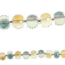 Bead Gallery Rondelle Glass Beads, Amber & Blue