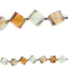 Bead Gallery Cube Glass Beads, Orange Mix