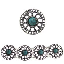 Bead Gallery Metal & Stone Beads with Turquoise Center