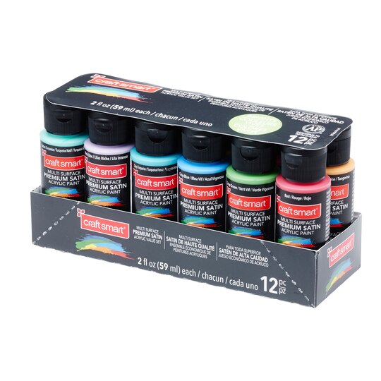 Bright colors premium satin acrylic set by craft smart for Craft smart acrylic paint