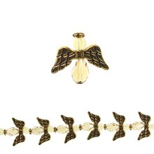 Bead Gallery Glass & Metal Crystal Angels, Gold