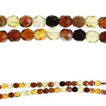 Bead Gallery Czech Glass Mixed Faceted Beads, Amber Close Up
