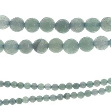 Bead Gallery Faceted Round Beads, Aqua Stone