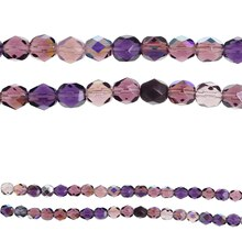 Bead Gallery Czech Glass Mixed Faceted Beads, Purple