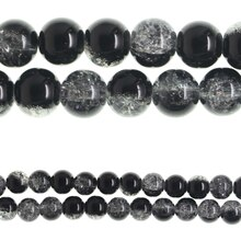 Bead Gallery Crackled Round Glass Beads, Black, Close-Up