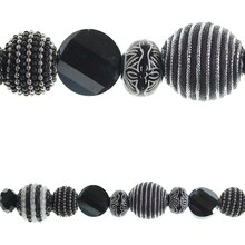 Bead Gallery Glass and Resin Beads, Black and White
