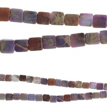 Bead Gallery Square Dyed Imperial Jasper Beads, Amethyst Close Up