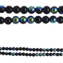 Bead Gallery Faceted Glass Beads, Black AB