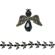 Bead Gallery Glass & Metal Angel Beads, Black, Close-Up