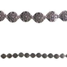 Bead Gallery Metal Filigree Lentil Beads, Silver, Close-Up