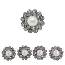 Bead Gallery Soldered Large Faux Pearl Flower Slider, Silver, Close-Up