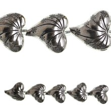 Bead Gallery Large Metal Heart Beads, Silver, Close-Up