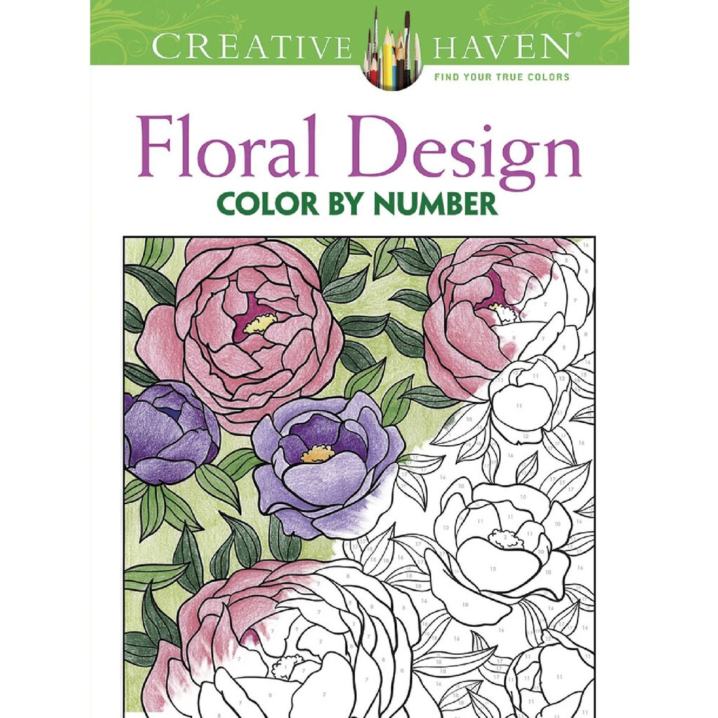 creative haven floral design color by number coloring book - Michaels Coloring Books