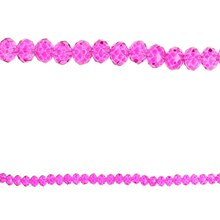 Bead Gallery Glass Rondelle Faceted Beads, Fuchsia