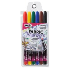 Tulip Fabric Markers, Fine Tip Primary, 6 Pack
