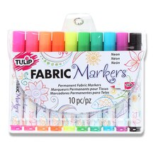 Tulip Fabric Markers, Brush Tip Neon, 10 Pieces