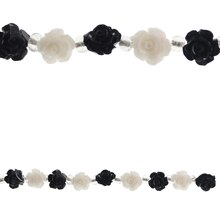 Bead Gallery Flower Beads, Black & White