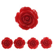 Bead Gallery Large Flower Stone Beads, Red