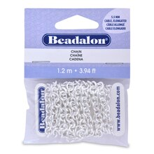 Beadalon Elongated Cable Chain, Silver-Plated