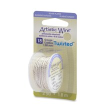 Beadalon Twisted Artistic Wire, Silver-Plated, 18 Gauge
