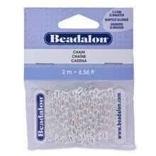 Beadalon Elongated Chain, Silver-Plated, 3.4mm