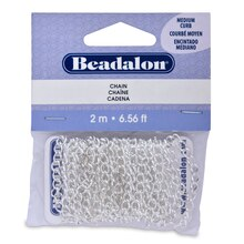 Beadalon Medium Curb Chain, Silver-Plated