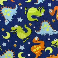 Blue Dinosaurs All Over Minky