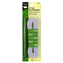 """3/8"""" White Knit Non-Roll Elastic - 2 Yards"""