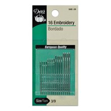 16 Embroidery Hand Needles - Size 3/9