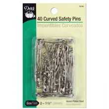 40 Curved Safety Pins, Size 2